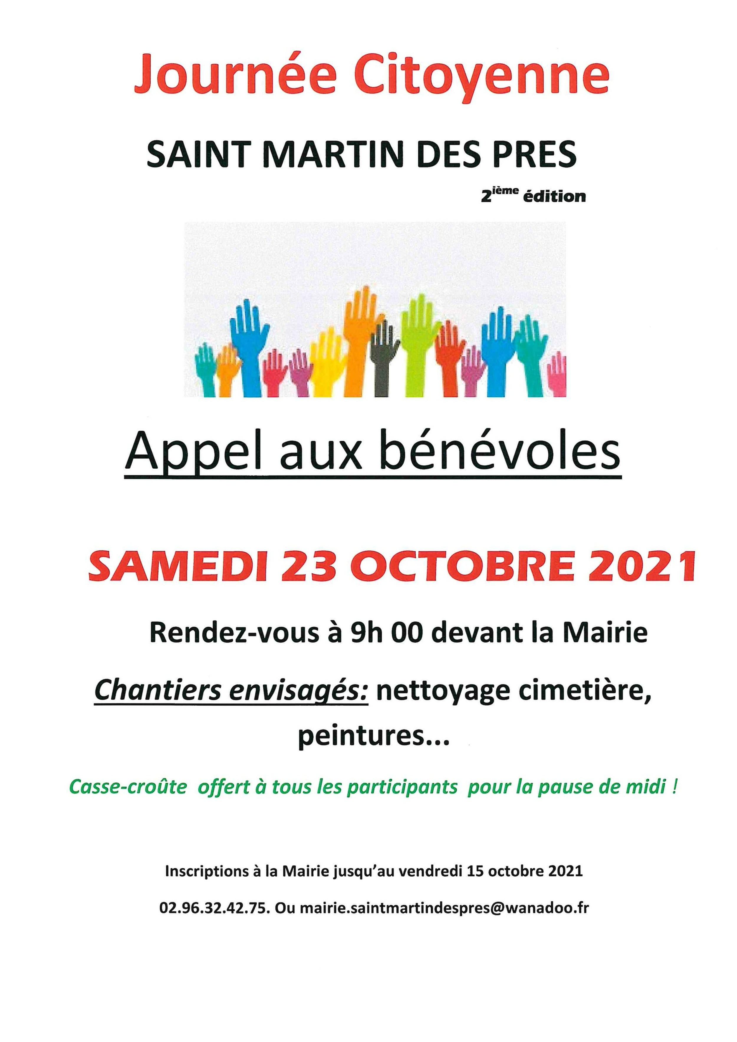 Journée citoyenne le 23 octobre 2021ST MARTIN DES PRÉS