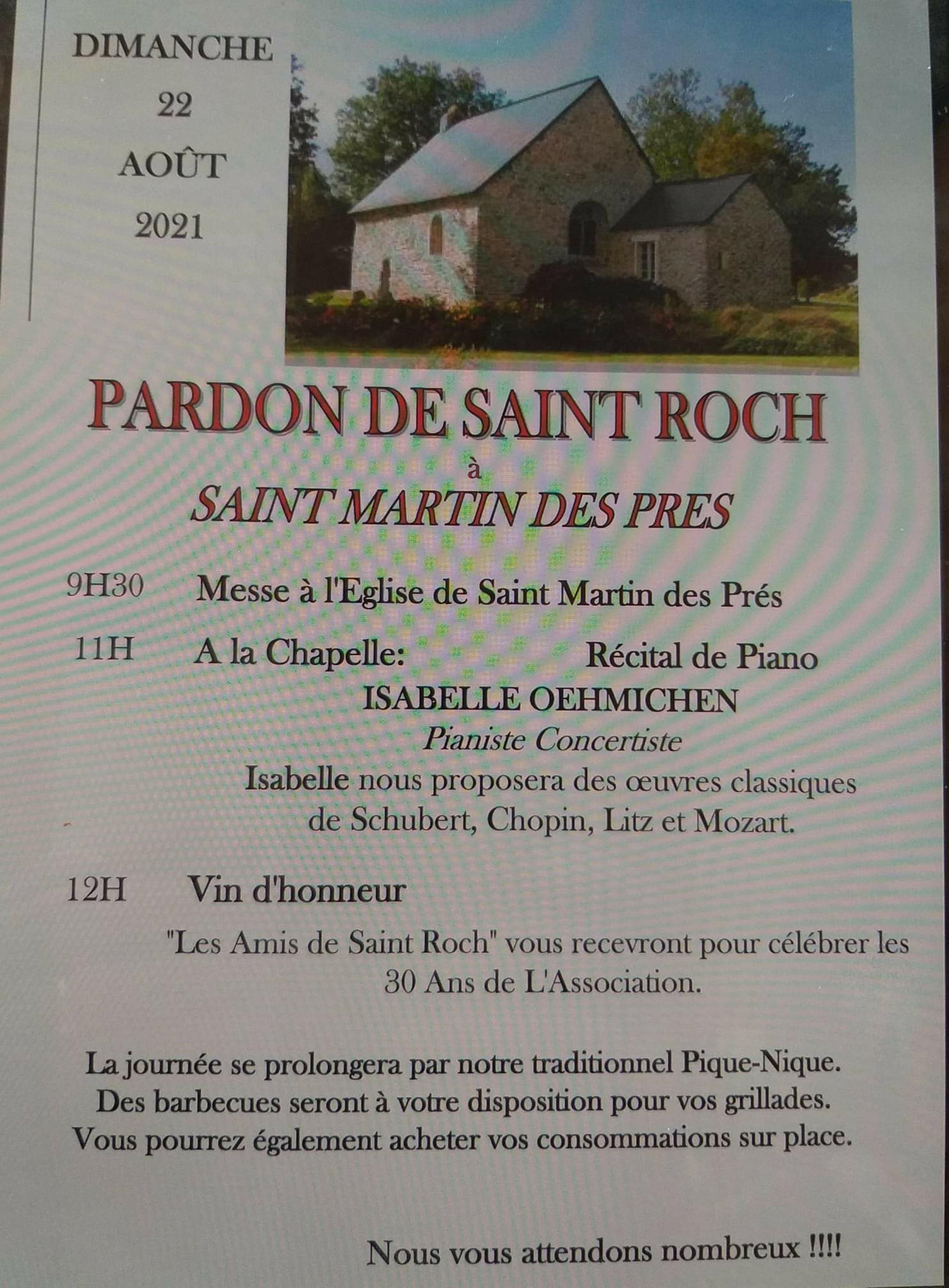 Le pardon de la chapelle St Roch 2021 à St Martin des Prés