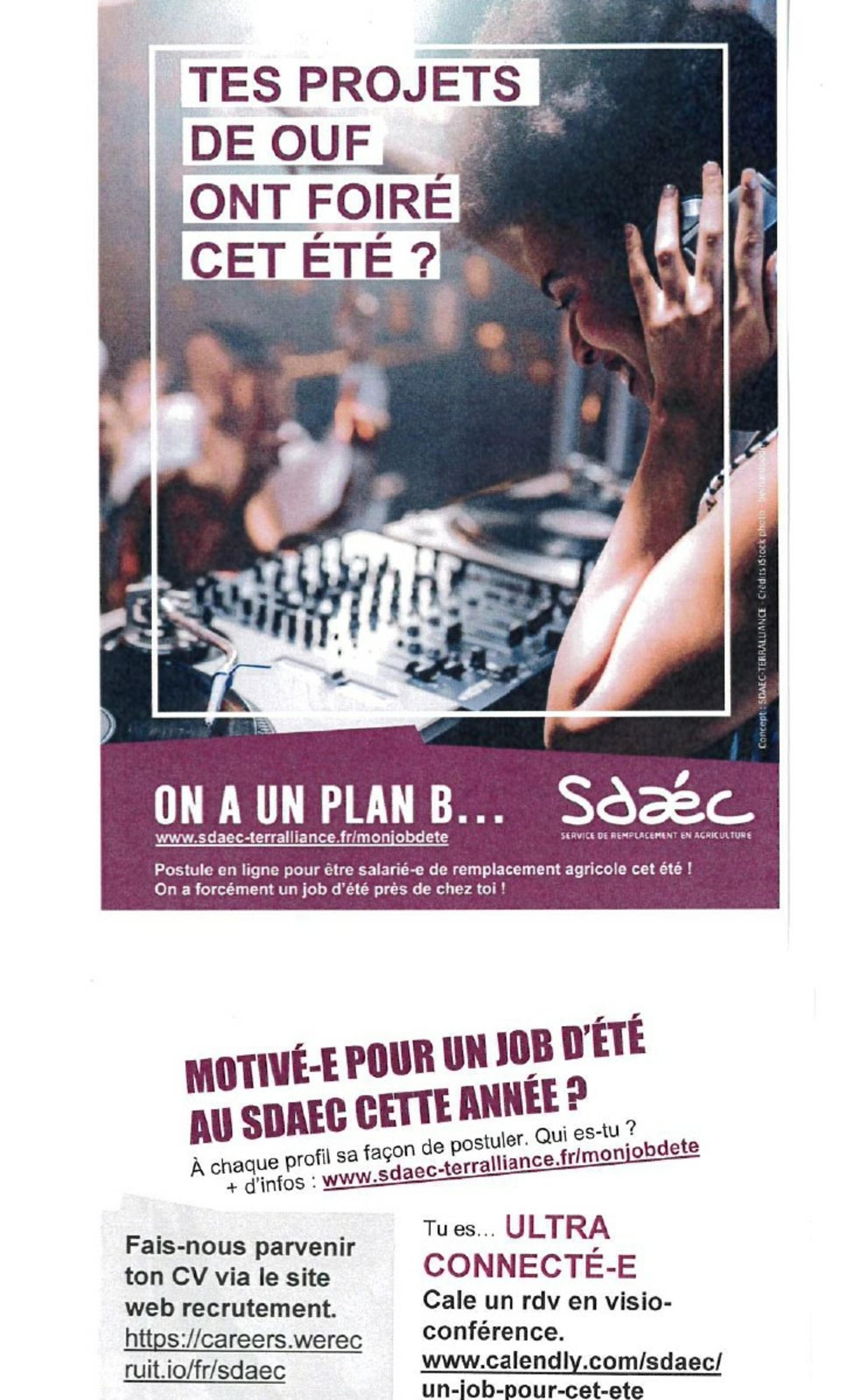 SDAEC :offre d''emploi saisonnier