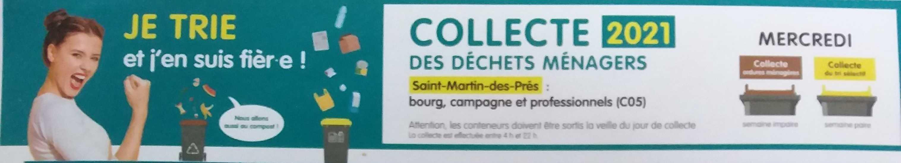 Saint-Martin-des-Prés : Calendrier 2021 de collecte des « ordures ménagères » et du « tri sélectif - 0
