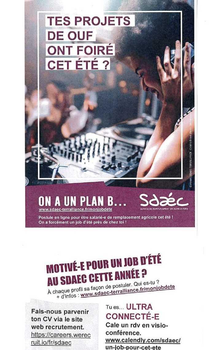 SDAEC :offre d''emploi saisonnier 0