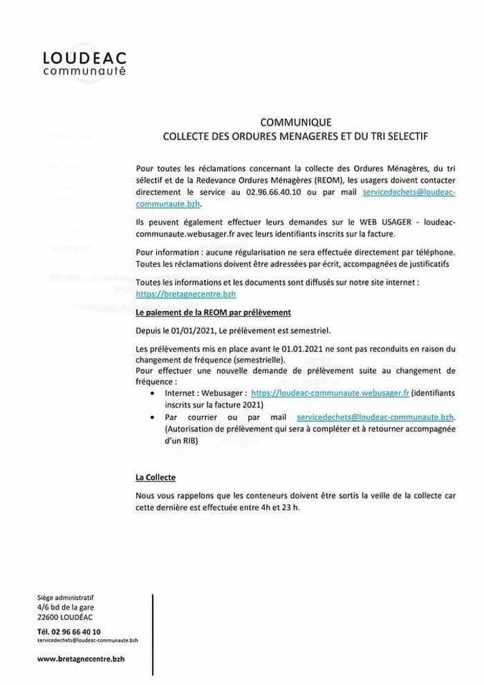 COLLECTE DES ORDURES MÉNAGÈRES ET DU TRI SÉLECTIF fbimg1625236440747