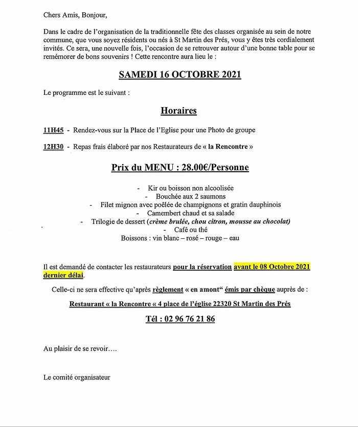 LES CLASSES 0 ET 1 À ST MARTIN DES PRÉS LE 16 OCTOBRE 2021 0